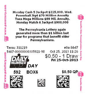 Pennsylvania Lottery - The Daily Number Mid-day & The Daily Number ...