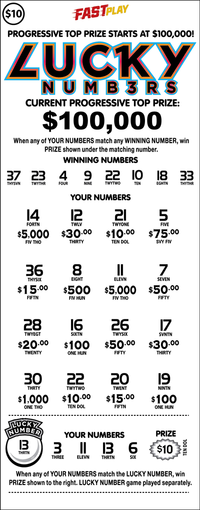 Pennsylvania Lottery - Fast Play - Lucky Numbers