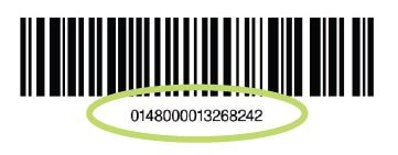 16 digits below the barcode