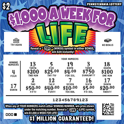 Pennsylvania Lottery - Scratch-Offs - $1,000 a Week for Life