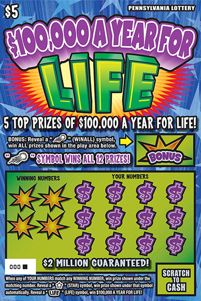 Pennsylvania Lottery - Scratch-Offs - $100,000 a Year for Life