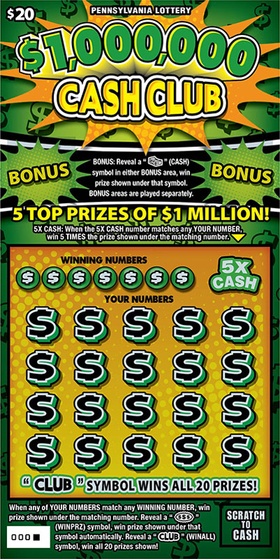 Pennsylvania Lottery - Scratch-Offs - $1,000,000 Cash Club*