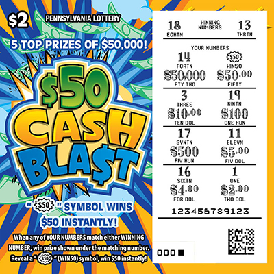 Pennsylvania Lottery - Scratch-Offs - $50 Cash Bla$t