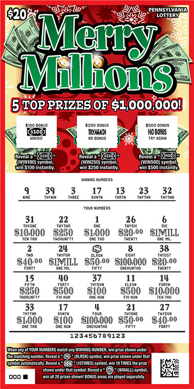 Pennsylvania Lottery - Scratch-Offs - Merry Millions