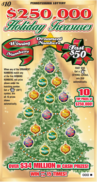 Pennsylvania Lottery - Scratch-Offs - $250,000 Holiday Treasures