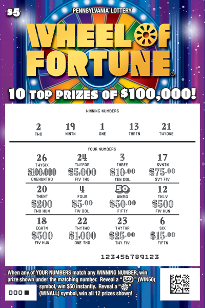 Pennsylvania Lottery - Scratch-Offs - Wheel of Fortune®