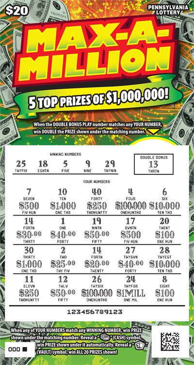 Pennsylvania Lottery - Scratch-Offs - Max-A-Million