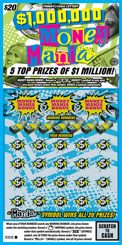 Pennsylvania Lottery - Scratch-Offs - $1,000,000 Money Mania*
